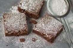 browne Chokladkakor med pudrat socker arkivbild