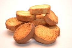 Browned crackers.White background. Stock Photo