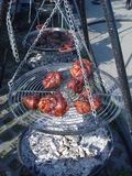 Browned meat pieces on grill over extinct charcoal Royalty Free Stock Photography
