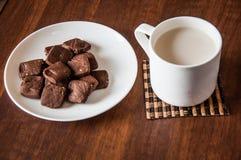 Brownie γάλα μπισκότων Στοκ φωτογραφίες με δικαίωμα ελεύθερης χρήσης