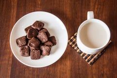 Brownie γάλα μπισκότων Στοκ φωτογραφία με δικαίωμα ελεύθερης χρήσης