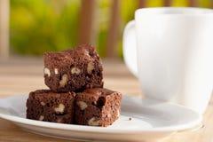 brownie εύγευστο ξύλο καρυδι Στοκ εικόνα με δικαίωμα ελεύθερης χρήσης