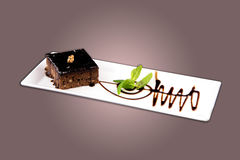 Brownie κέικ σοκολάτας Στοκ Εικόνα
