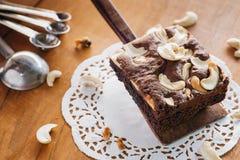 Brownie και των δυτικών ανακαρδίων κέικ καρυδιών Στοκ εικόνες με δικαίωμα ελεύθερης χρήσης