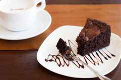 Brownie με τον καφέ Στοκ εικόνα με δικαίωμα ελεύθερης χρήσης
