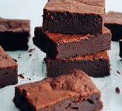 Brownie σοκολάτας Brownie σοκολάτας πύργος Στοκ φωτογραφία με δικαίωμα ελεύθερης χρήσης