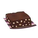 Brownie σοκολάτας κέικ με τα καρύδια Στοκ Εικόνες