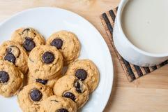 Brownie σοκολάτας μπισκότο και γάλα Στοκ Εικόνα