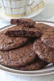 Brownie φοντάν μπισκότα στο πιάτο και το φλυτζάνι πιατικών Στοκ φωτογραφίες με δικαίωμα ελεύθερης χρήσης