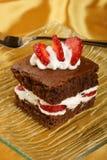 brownie φράουλα Στοκ εικόνα με δικαίωμα ελεύθερης χρήσης