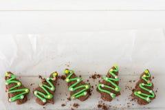 Brownie χριστουγεννιάτικα δέντρα άνωθεν Στοκ Εικόνα