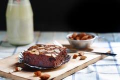 Brownie almond cake Stock Photos