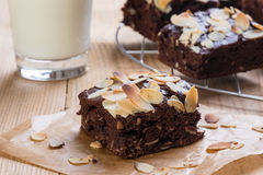 Brownie with almond Royalty Free Stock Photos