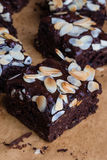 Brownie with almond Stock Photos