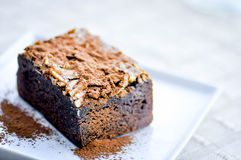 Brownie with almond topping Stock Photo