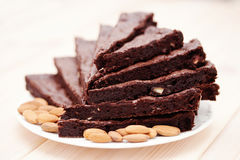 Brownie with almonds Royalty Free Stock Photo