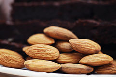Brownie with almonds Royalty Free Stock Image