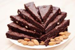 Brownie with almonds Stock Photo