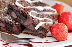 Free Brownie And Strawberries Royalty Free Stock Image - 10120386