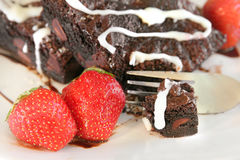 Free Brownie And Strawberries Stock Photos - 10120393