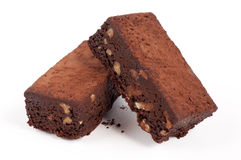 'brownie' avec des noix Image stock