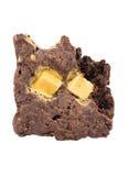 'brownie' avec une morsure d'isolement sur le fond blanc Photo libre de droits