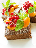 Brownie with berries Royalty Free Stock Photos