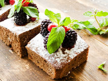Brownie with berries Stock Image
