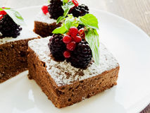 Brownie with berries Stock Photos