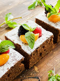 Brownie with berries Royalty Free Stock Images