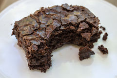 Brownie with bite Royalty Free Stock Photography
