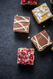 Brownie bites with chocolate and cranberry Royalty Free Stock Image