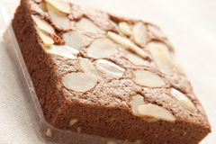 Brownie cake with almond Royalty Free Stock Photo