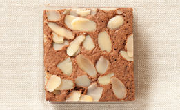 Brownie cake with almond Royalty Free Stock Photos