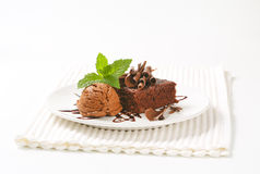 Brownie cake and chocolate ice cream Stock Photos