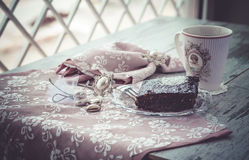Brownie cake and coffe Royalty Free Stock Image