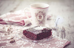 Brownie cake and coffe vintage Royalty Free Stock Photo