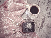 Brownie cake and coffe vintage style above view Stock Image