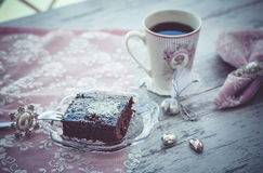 Brownie cake and coffe vintage style 1 Stock Images