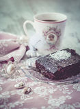 Brownie cake and coffe vintage style vertical Stock Photo
