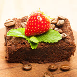 Brownie cake and coffee beans Royalty Free Stock Images