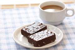 Brownie cake and coffee cup Royalty Free Stock Images