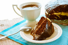 Brownie cake dessert cocoa sweet coffee cup Royalty Free Stock Photo