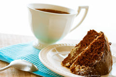 Brownie cake dessert cocoa sweet coffee cup Royalty Free Stock Photos