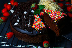 Brownie cake with four flavors Stock Photos