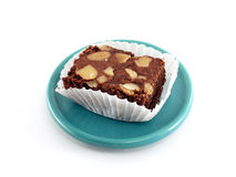 Brownie cake on green saucer Royalty Free Stock Photography