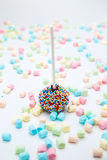 Brownie cake pops with color sugar pearls and marshmallow Stock Image