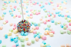 Brownie cake pops with color sugar pearls and marshmallow Stock Photo