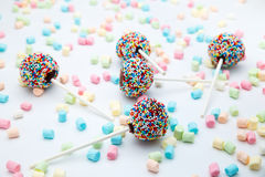 Brownie cake pops with color sugar pearls and marshmallow Stock Photography