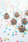 Brownie cake pops with color sugar pearls and marshmallow Stock Photos